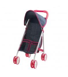 Прогулочная коляска для куклы красотка джинс с капюшоном 1Toy т10382