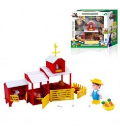 Игровой набор наша ферма двухэтажный домик с фермером и зверюшками 1Toy т11046