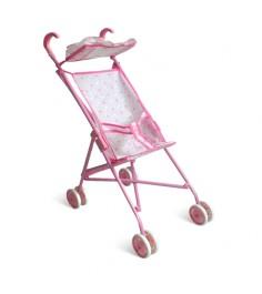 Коляска трость для кукол с козырьком розовая 1Toy т52256