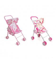 Прогулочная коляска для кукол с козырьком розовая 1Toy т52259