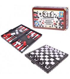 Настольная магнитная игра 3 в 1 шашки шахматы нарды 1Toy т52447