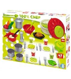 Игрушка для кухни Ecoiffier Набор посуды 100% Chef 2621