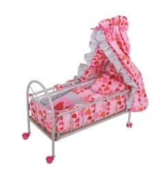 Кроватка для куклы на колесиках розово-серебристая со светящимся логотипом сердечко Gulliver 548-4
