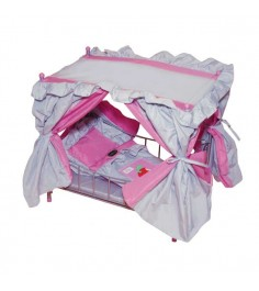 Кроватка для куклы с балдахином розово-серебристая со светящимся логотипом яблочко или пони Gulliver 568-2