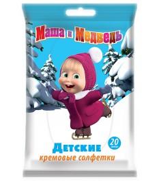 Детские влажные салфетки Маша и Медведь кремовые 20 шт