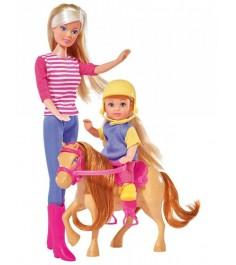 Кукла Штеффи и Еви с пони на ферме 5738051