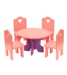Набор кукольной мебели Краснокамская игрушка Столик с четырьмя стульчиками КМ-03