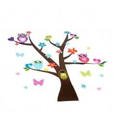 Наклейки для оформления детской комнаты дерево c совами Bondibon ВВ1509