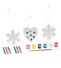 Набор для творчества елочные украшения со стразами сердце и 2 снежинки Bondibon ВВ1704