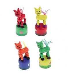 Деревянная игрушка дергунчик котёнок ассорти Рыжий кот ИД-1299