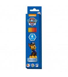 Цветные карандаши щенячий патруль 6 цветов Росмэн 31860