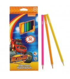 Цветные карандаши вспыш и чудо машинки 12 шт Росмэн 32315