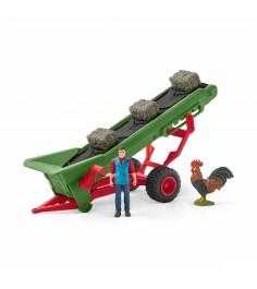 Игровой набор Schleich Фермер и прицеп конвеер для сена 42377