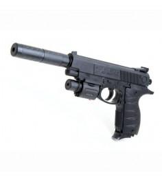 Детское оружие механический пистолет с глушителем и лазером Shantou Gepai ES869-399B-3