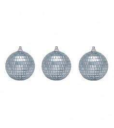 Набор из 3 новогодних зеркальных шаров 7 см Snowmen Е0341