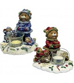 Новогодний фигурный подсвечник медведь с медвежатами Snowmen Е40221