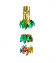 Новогодняя многоцветная гирлянда люстра листья Snowmen Е50947