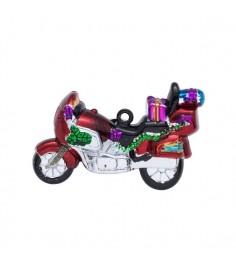 Новогодняя фигурная игрушка ретро мотоцикл 11.5 см Snowmen Е70087