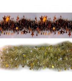 Новогоднее украшение двухцветная мишура со звездами 2.5 м Snowmen Е70154