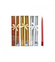 Новогодние витые свечи 25 см 3 шт Snowmen Е91109