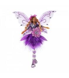 Елочная игрушка фея с самоцветами сиреневая 20 см Snowmen Е92157