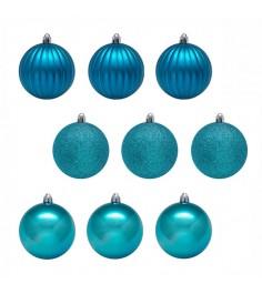 Набор из 9 новогодних шаров голубой 6 см Snowmen Е93119