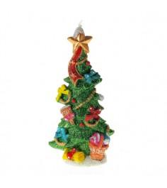 Новогодняя свеча елочка с украшениями 17см Snowmen Е93232