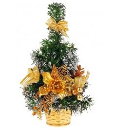 Новогодняя елочка с золотистыми украшениями 20 см Snowmen Е94373