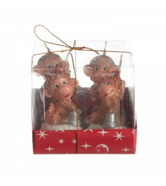 Набор из 4 х чайных свечей обезьянка Snowmen Е96021