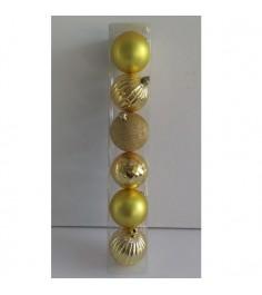 Набор новогодних шаров золотистые 6 шт по 6 см Snowmen Е96159