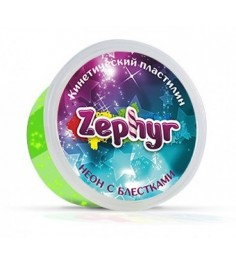 Масса для лепки зелёная неоновая с блёстками Zephyr 00-00000865